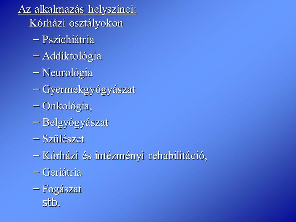 Az alkalmazás helyszínei: Kórházi osztályokon