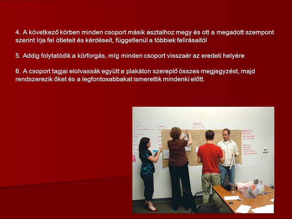 4. A következő körben minden csoport másik asztalhoz megy és ott a megadott szempont szerint írja fel ötleteit és kérdéseit, függetlenül a többiek felírásaitól