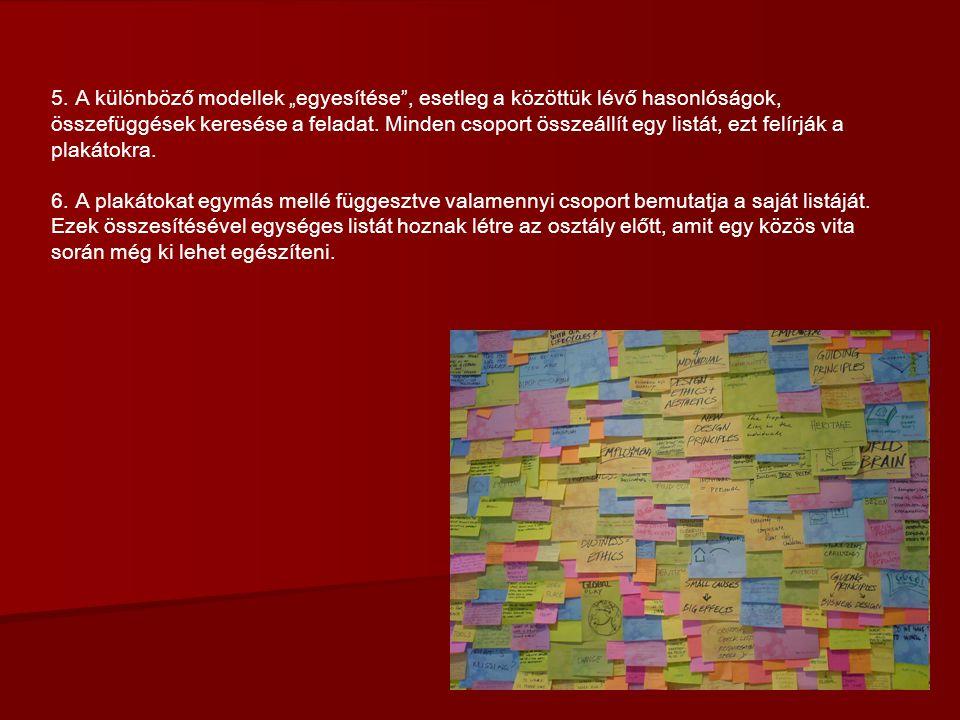 """5. A különböző modellek """"egyesítése , esetleg a közöttük lévő hasonlóságok, összefüggések keresése a feladat. Minden csoport összeállít egy listát, ezt felírják a plakátokra."""