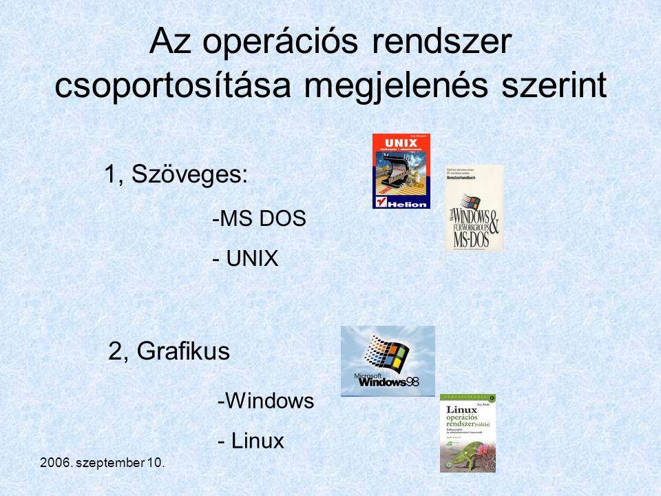 Az operációs rendszer csoportosítása megjelenés szerint