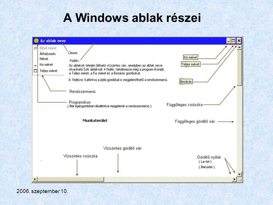 A Windows ablak részei 2006. szeptember 10.