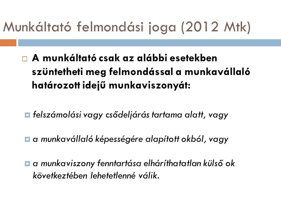 Munkáltató felmondási joga (2012 Mtk)