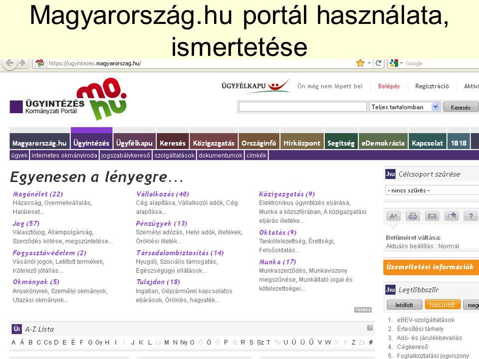Magyarország.hu portál használata, ismertetése