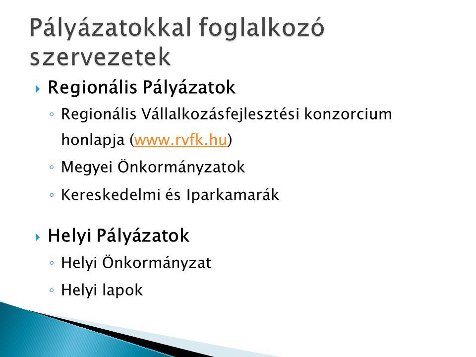 Pályázatokkal foglalkozó szervezetek
