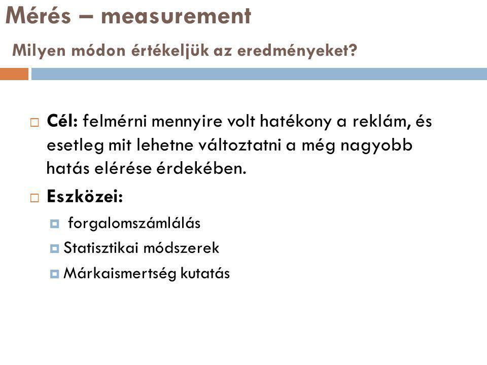 Mérés – measurement Milyen módon értékeljük az eredményeket