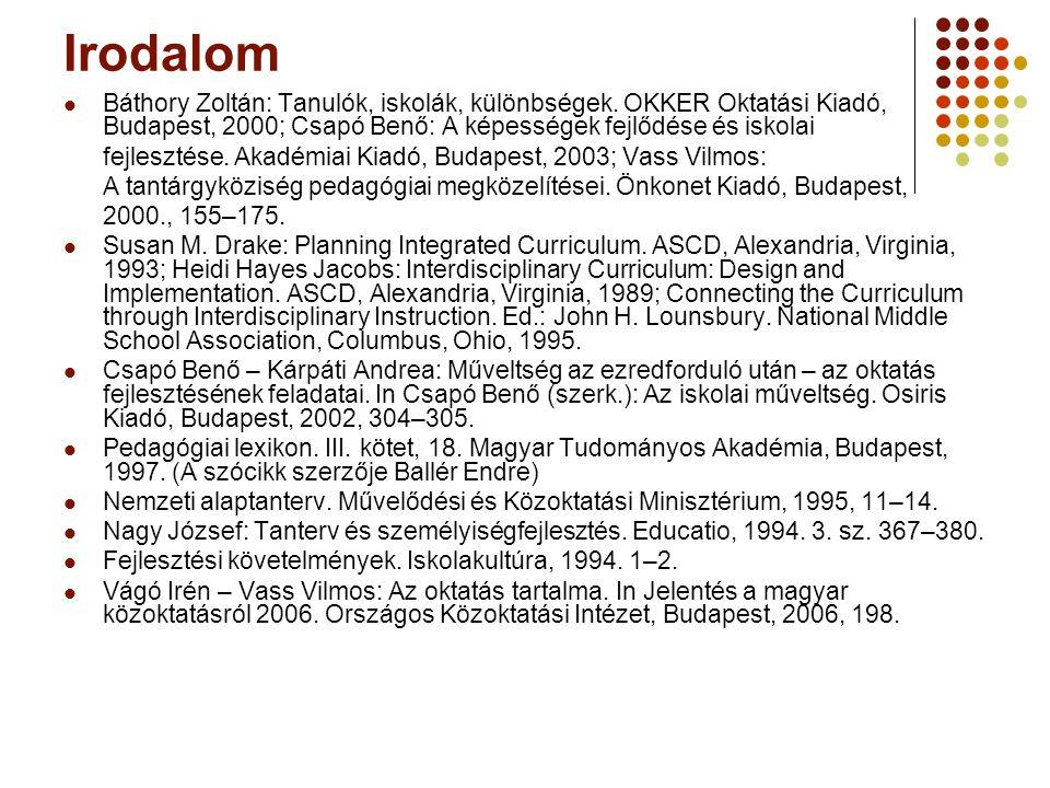 Irodalom Báthory Zoltán: Tanulók, iskolák, különbségek. OKKER Oktatási Kiadó, Budapest, 2000; Csapó Benő: A képességek fejlődése és iskolai.