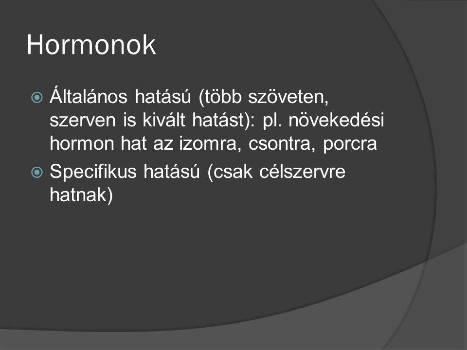Hormonok Általános hatású (több szöveten, szerven is kivált hatást): pl. növekedési hormon hat az izomra, csontra, porcra.