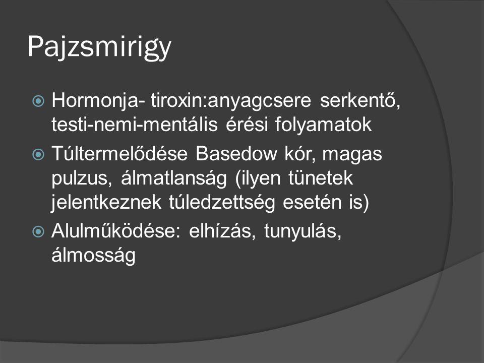 Pajzsmirigy Hormonja- tiroxin:anyagcsere serkentő, testi-nemi-mentális érési folyamatok.