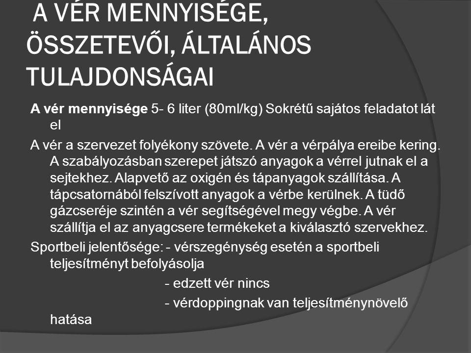 A VÉR MENNYISÉGE, ÖSSZETEVŐI, ÁLTALÁNOS TULAJDONSÁGAI