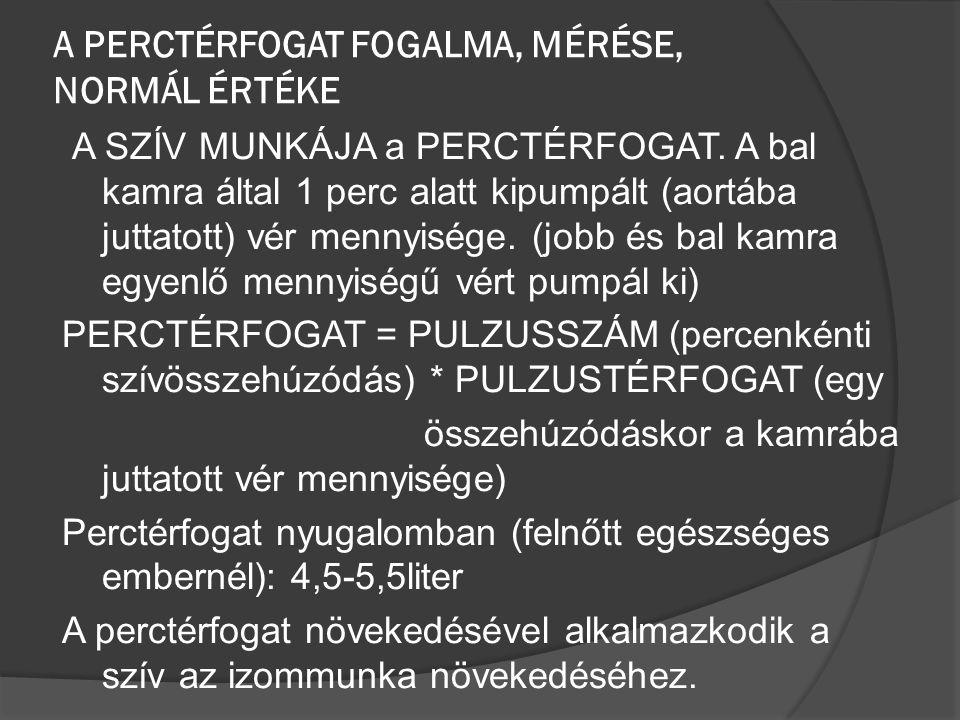 A PERCTÉRFOGAT FOGALMA, MÉRÉSE, NORMÁL ÉRTÉKE