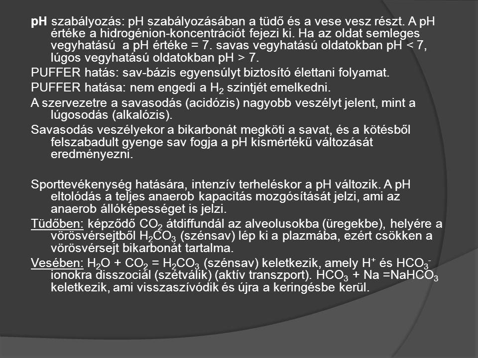 pH szabályozás: pH szabályozásában a tüdő és a vese vesz részt