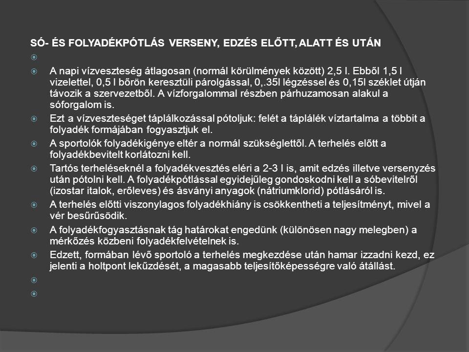 SÓ- ÉS FOLYADÉKPÓTLÁS VERSENY, EDZÉS ELŐTT, ALATT ÉS UTÁN