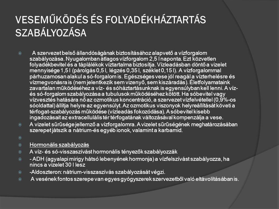VESEMŰKÖDÉS ÉS FOLYADÉKHÁZTARTÁS SZABÁLYOZÁSA