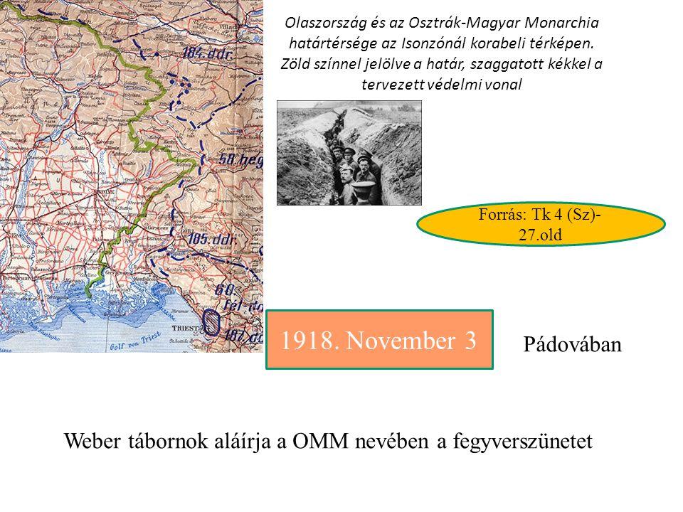 A Belgrádi-tárgyalások November 5-én Károlyi Mihály vezetésével küldöttség utazott Belgrádba, Franchet d Esperey tábornokhoz, a keleti antant haderő főparancsnokához, a Monarchiával kötött pádaui fegyverszüneti szerződés Magyarországra való alkalmazásának megbeszélése céljából. A magyar küldöttség - amely a bizonytalan helyzetre való tekintettel Újvidéktől hajón tette meg az utat Belgrádig - a tárgyaláson barátinak éppen nem nevezhető fogadtatásban részesült. A Belgrádban aláírt, 18 pontból álló katonai egyezmény demarkációs vonalként a Beszterce, Maros, Szabadka, Pécs, Dráva vonalat jelölte meg, előírta a haderő esetleges átvonulását biztosító intézkedést tartalmazott.