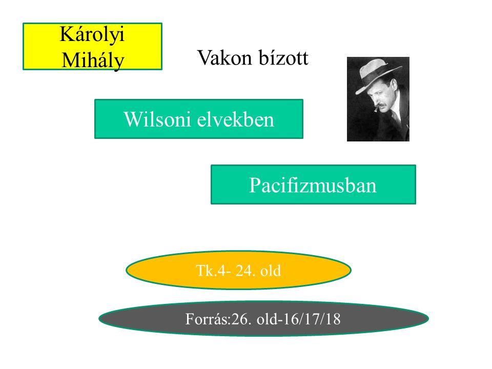 Károlyi Mihály Vakon bízott Wilsoni elvekben Pacifizmusban