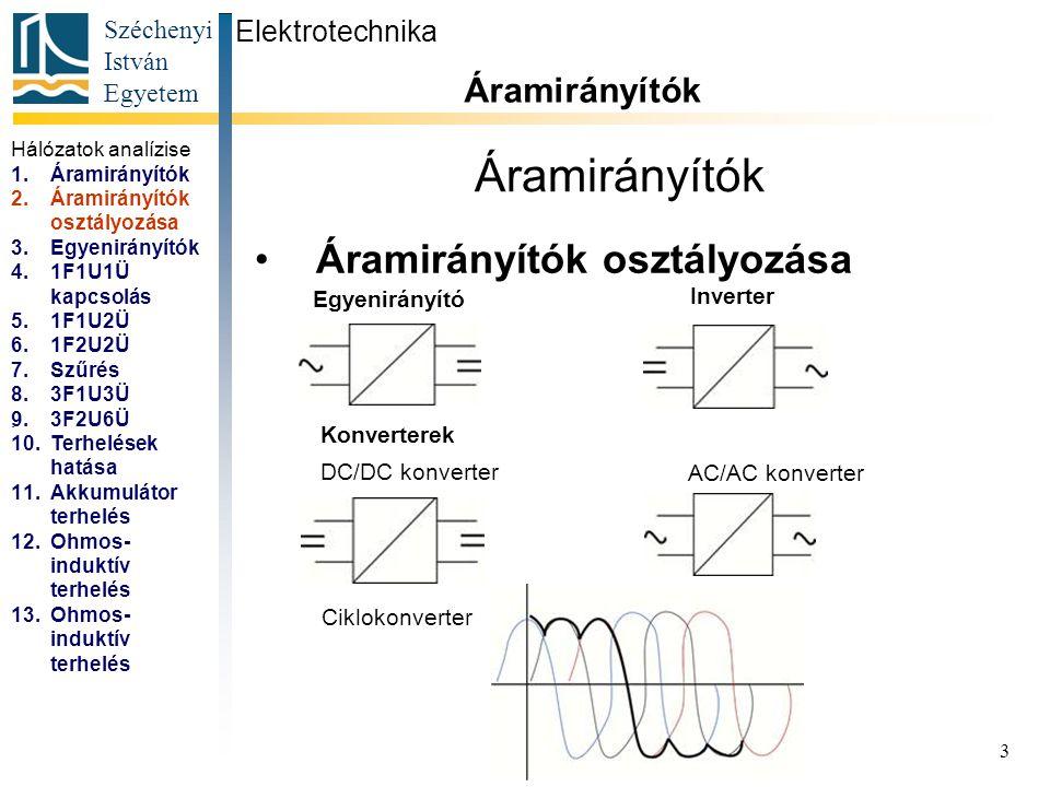 Áramirányítók Áramirányítók osztályozása Áramirányítók Elektrotechnika