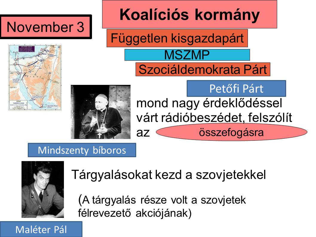Koalíciós kormány November 3 Független kisgazdapárt MSZMP
