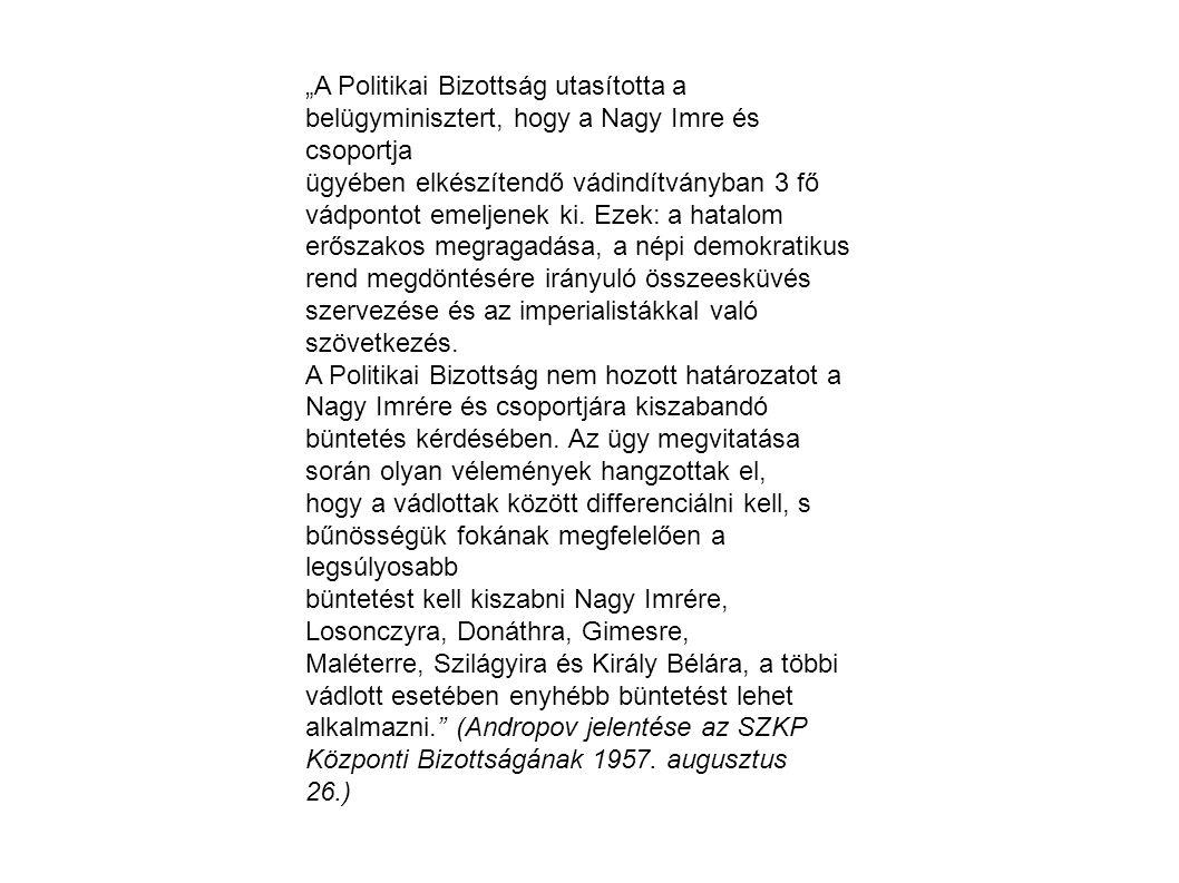 """""""A Politikai Bizottság utasította a belügyminisztert, hogy a Nagy Imre és csoportja"""