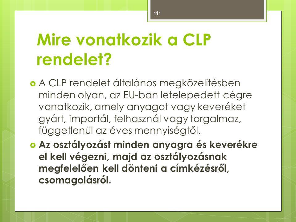 Mire vonatkozik a CLP rendelet