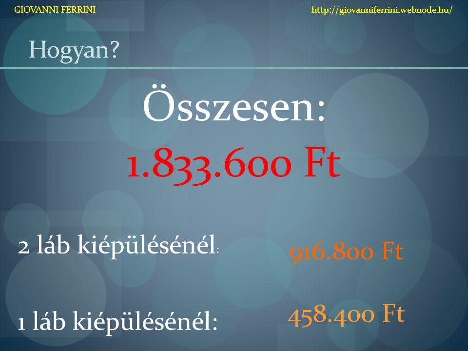 Összesen: 1.833.600 Ft 916.800 Ft 2 láb kiépülésénél: 458.400 Ft