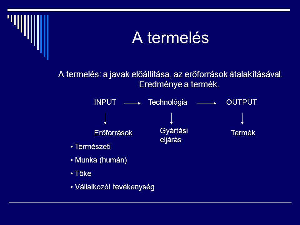 A termelés A termelés: a javak előállítása, az erőforrások átalakításával. Eredménye a termék. INPUT.