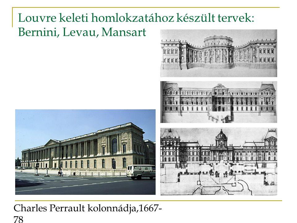 Louvre keleti homlokzatához készült tervek: Bernini, Levau, Mansart