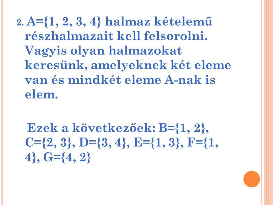 2. A={1, 2, 3, 4} halmaz kételemű részhalmazait kell felsorolni