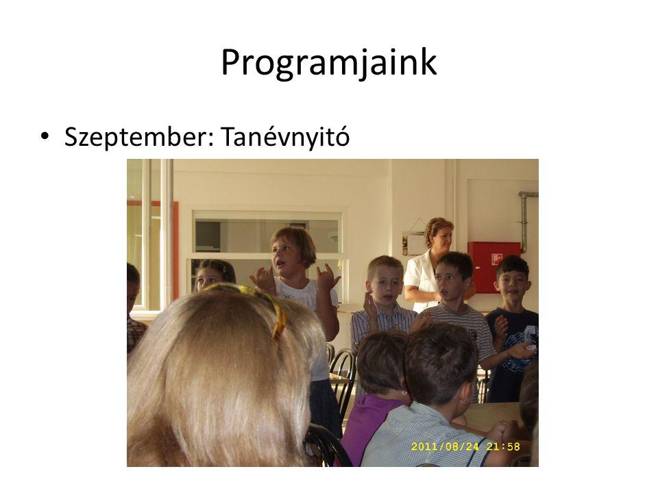 Programjaink Szeptember: Tanévnyitó