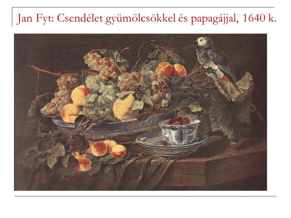 Jan Fyt: Csendélet gyümölcsökkel és papagájjal, 1640 k.