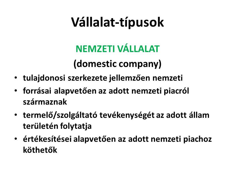 Vállalat-típusok NEMZETI VÁLLALAT (domestic company)