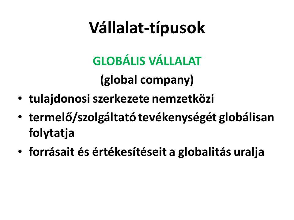 Vállalat-típusok GLOBÁLIS VÁLLALAT (global company)