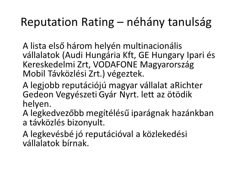Reputation Rating – néhány tanulság