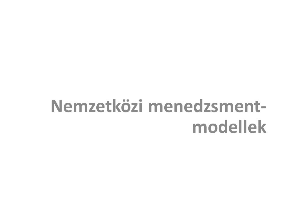 Nemzetközi menedzsment-modellek