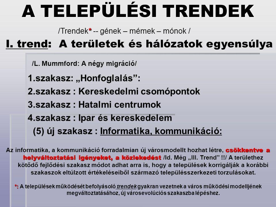 I. trend: A területek és hálózatok egyensúlya