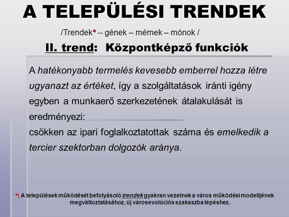 II. trend: Központképző funkciók