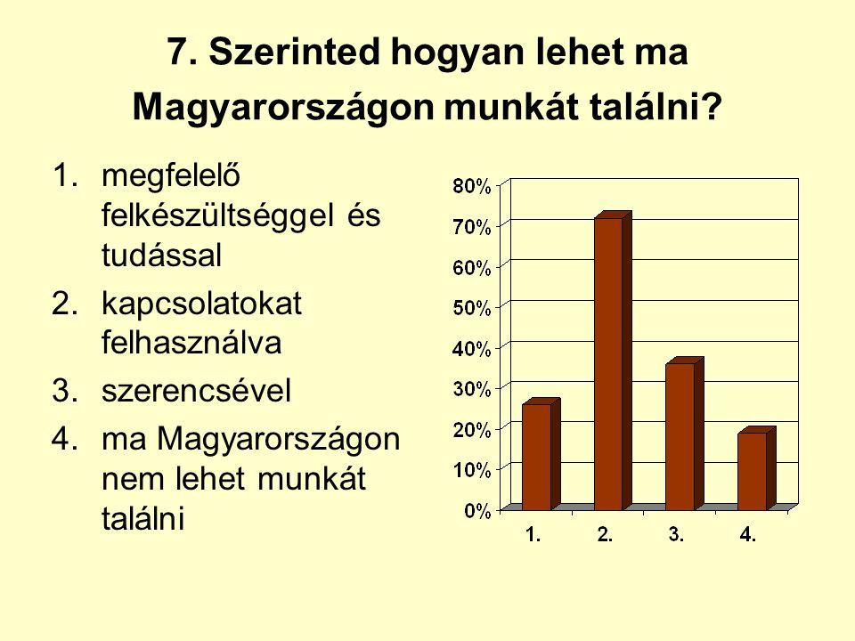 7. Szerinted hogyan lehet ma Magyarországon munkát találni