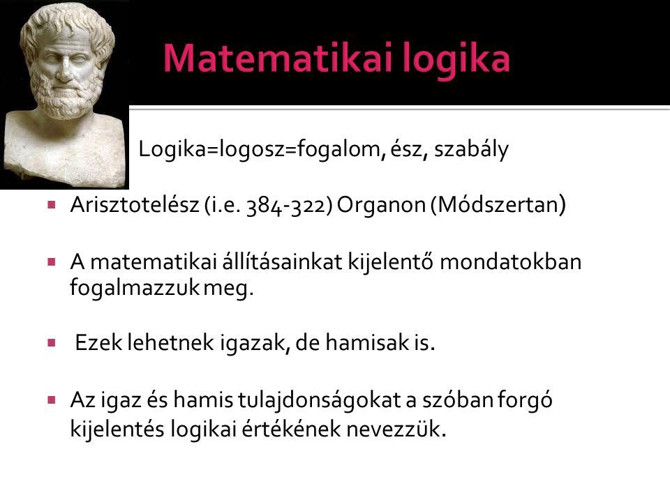 Matematikai logika Logika=logosz=fogalom, ész, szabály