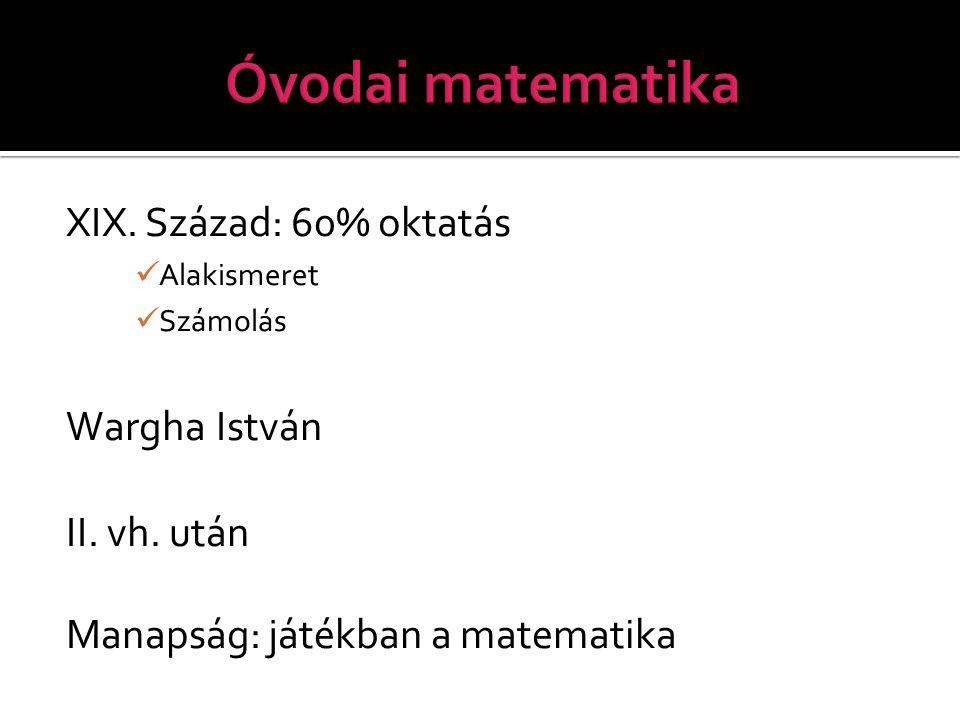 Óvodai matematika XIX. Század: 60% oktatás Wargha István II. vh. után