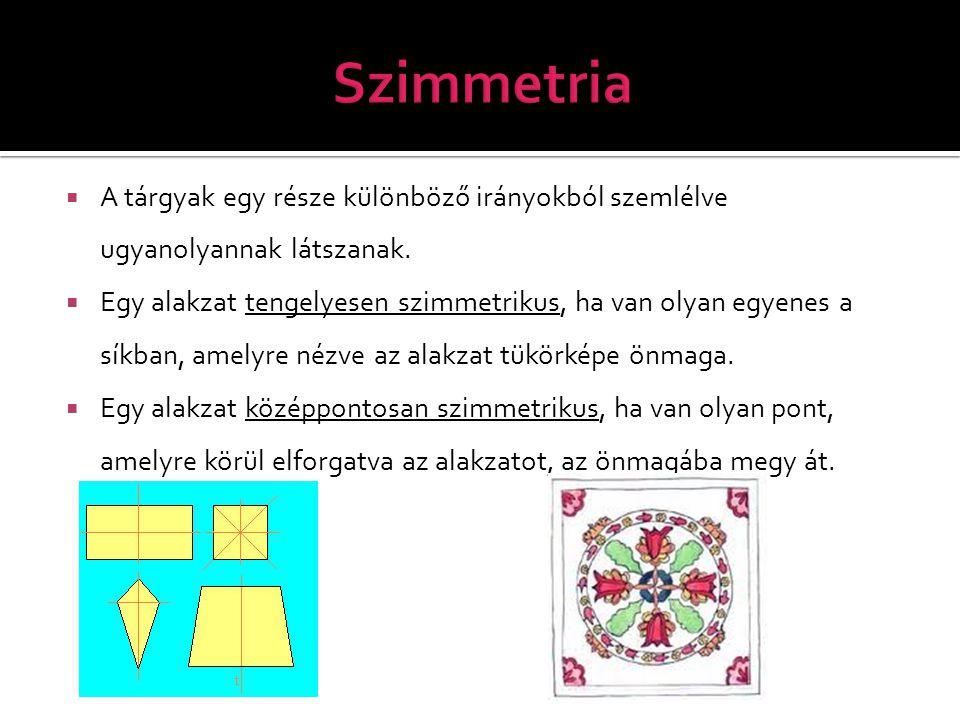 Szimmetria A tárgyak egy része különböző irányokból szemlélve ugyanolyannak látszanak.