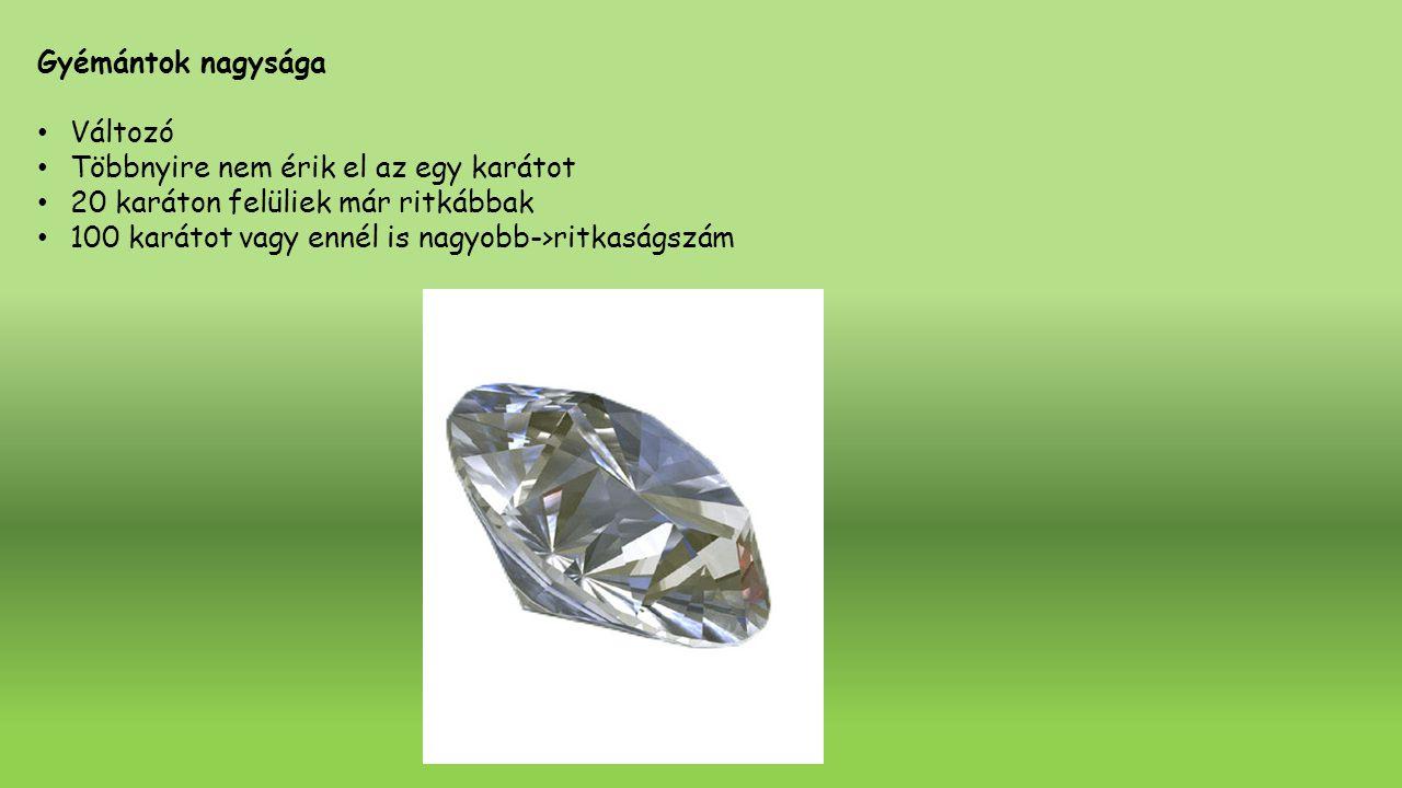 Gyémántok nagysága Változó. Többnyire nem érik el az egy karátot. 20 karáton felüliek már ritkábbak.