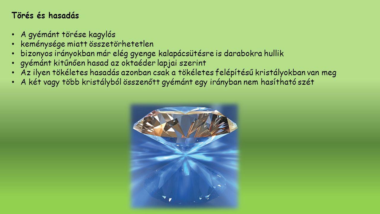 Törés és hasadás A gyémánt törése kagylós. keménysége miatt összetörhetetlen.
