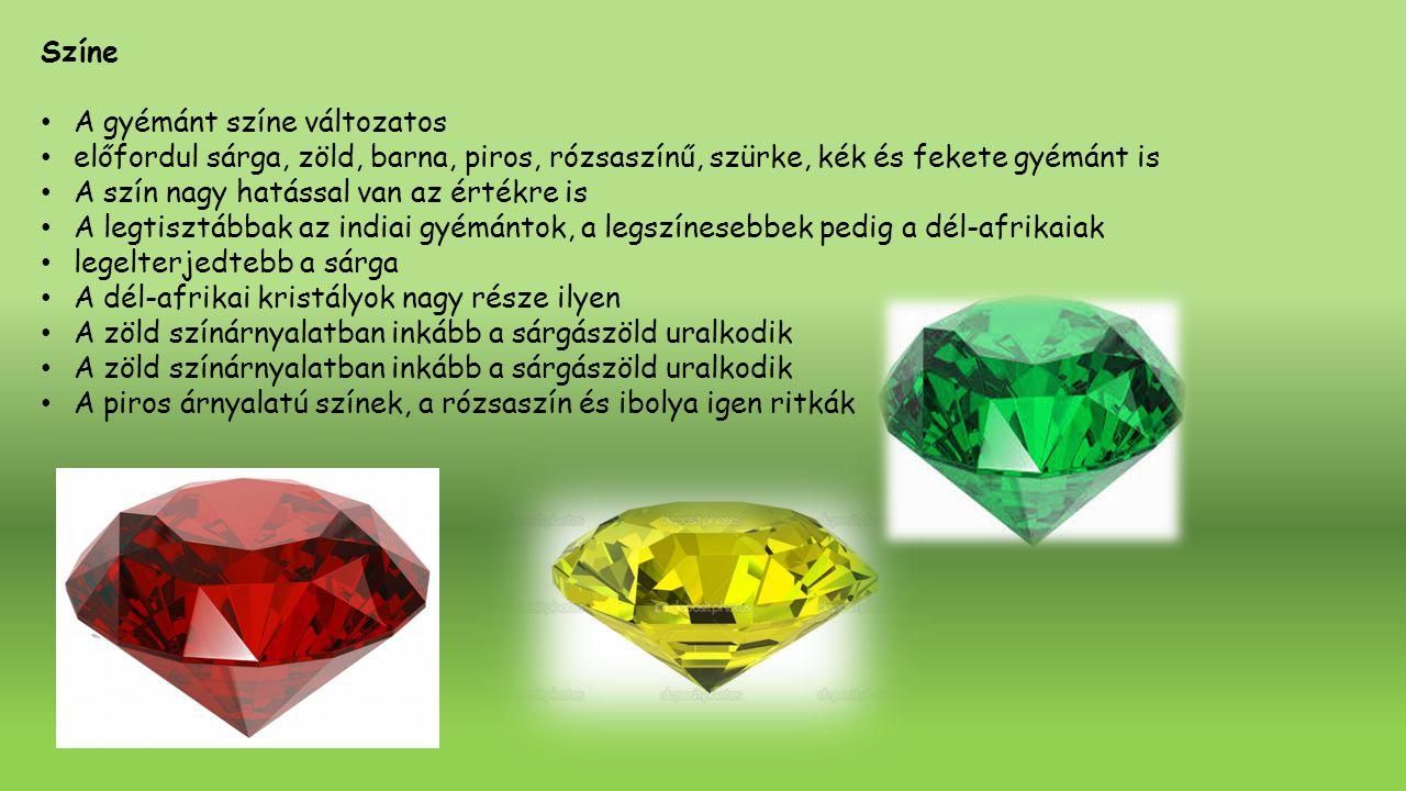 Színe A gyémánt színe változatos. előfordul sárga, zöld, barna, piros, rózsaszínű, szürke, kék és fekete gyémánt is.