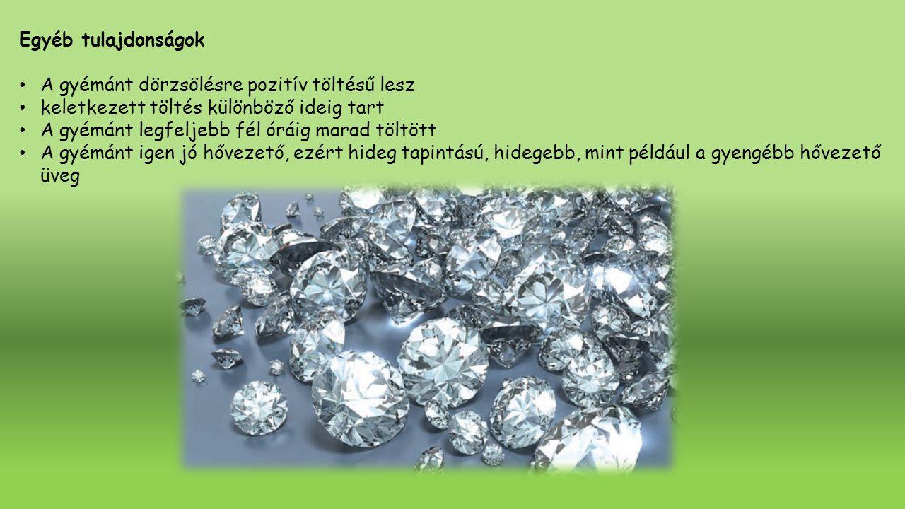 Egyéb tulajdonságok A gyémánt dörzsölésre pozitív töltésű lesz. keletkezett töltés különböző ideig tart.