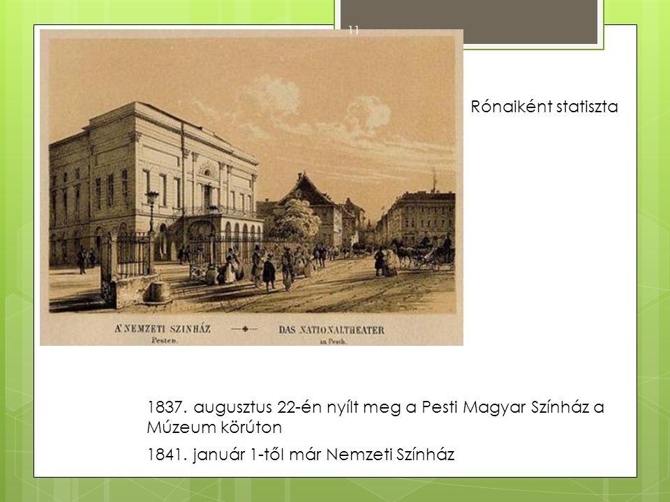 Rónaiként statiszta 1837. augusztus 22-én nyílt meg a Pesti Magyar Színház a Múzeum körúton.