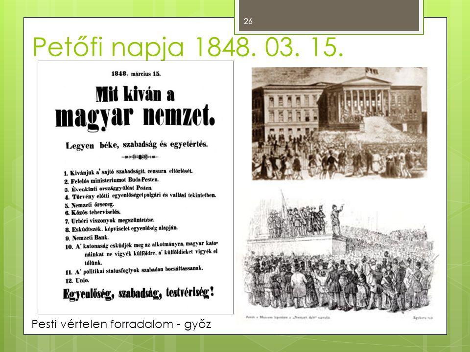 Petőfi napja 1848. 03. 15. Pesti vértelen forradalom - győz