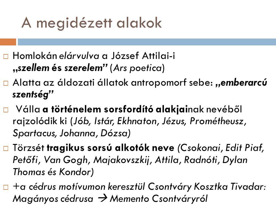 """A megidézett alakok Homlokán elárvulva a József Attilai-i """"szellem és szerelem (Ars poetica)"""