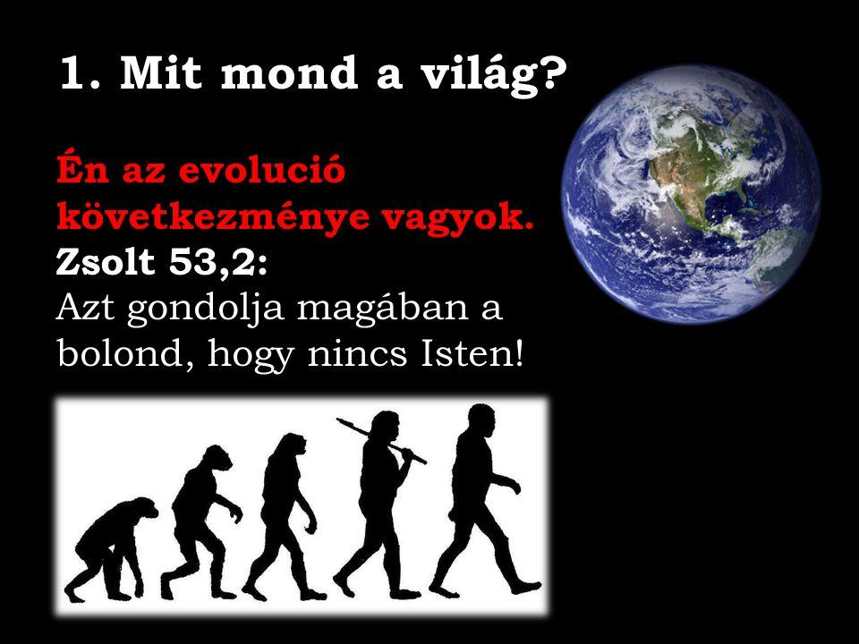 1. Mit mond a világ Én az evolució következménye vagyok. Zsolt 53,2: