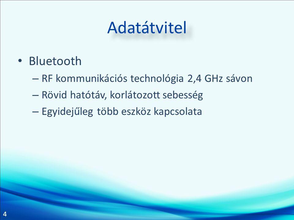 Adatátvitel Bluetooth RF kommunikációs technológia 2,4 GHz sávon
