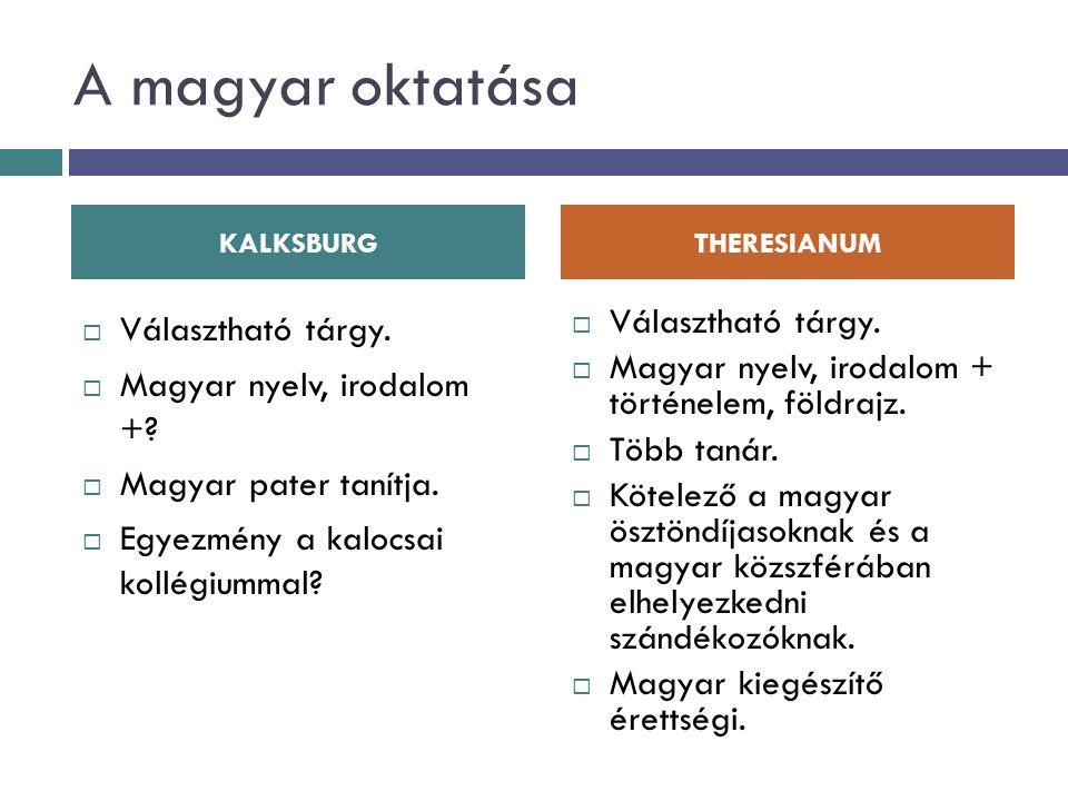 A magyar oktatása Választható tárgy. Magyar nyelv, irodalom +