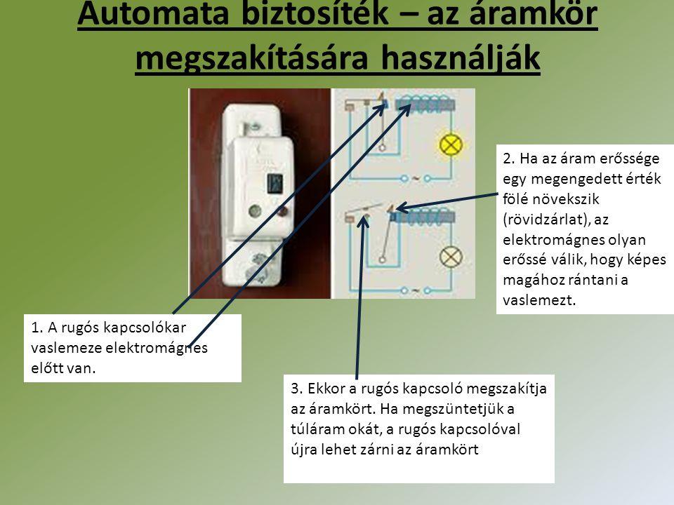 Automata biztosíték – az áramkör megszakítására használják